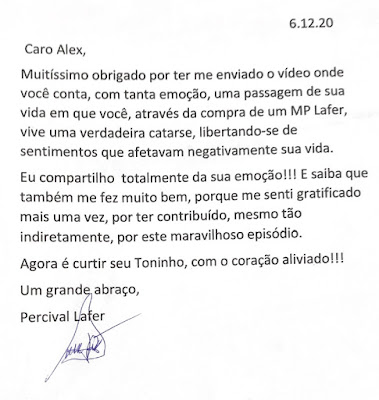 Autógrafo do Percival Lafer com dedicatória para o Alex Chopper.