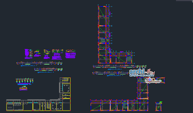 Structure plan construction details of office in AutoCAD