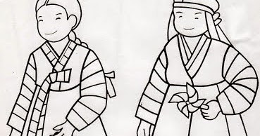 Just Wedeminute Korean Hanboks Coloring Pages - Korean-hanbok-coloring-pages