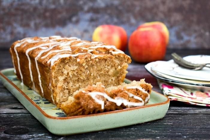 vegan red apple cake on a platter