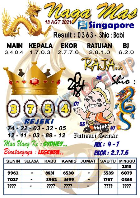 Syair Naga Mas SGP Rabu 18 Agustus 2021