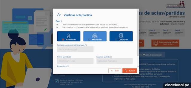 Verificar Copia Certificada y Partida en la Reniec