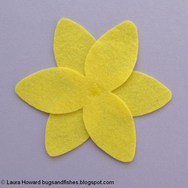 sewing the felt daffodil petals together