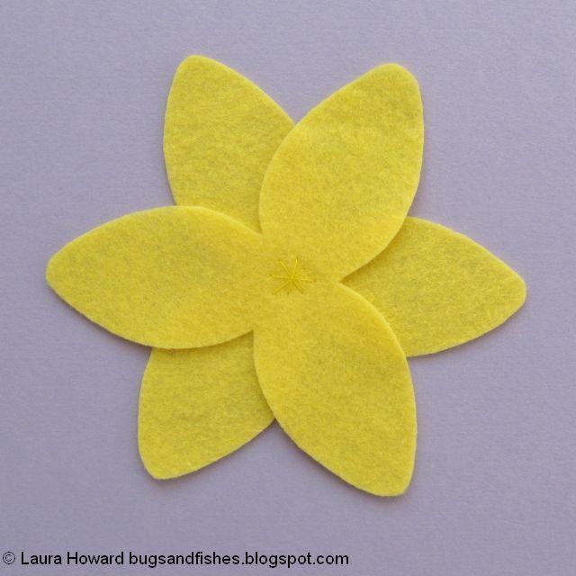 sewing the felt daffodil petals together