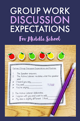 Set middle school students up for success with group work discussion expectations and routines.