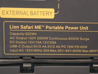 Lion Energy Safari ME solar power generator specifications