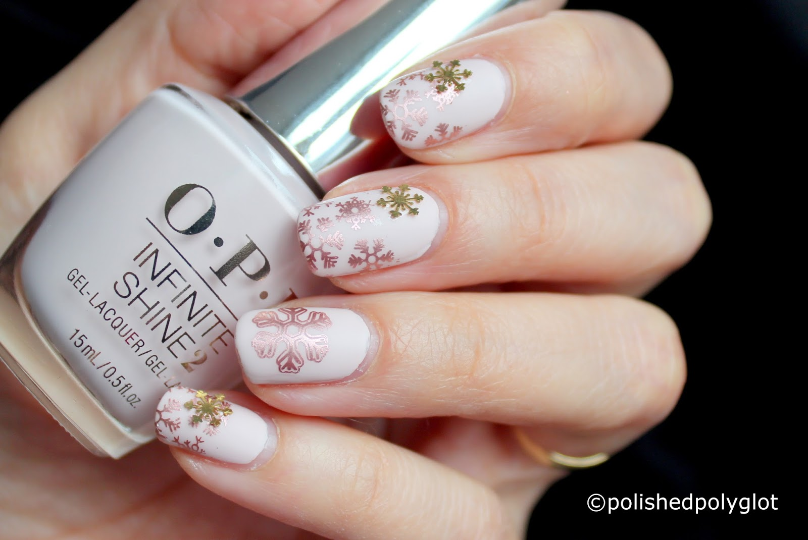 Nail art pink and rose gold snowflakes nail design using its been very long time since i last posted a nail art review and as usual im late for posting all my nail art challenges freerunsca Image collections