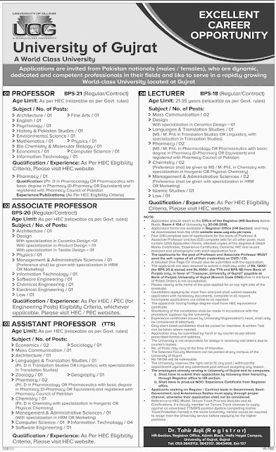 Teaching Faculty jobs in University of Gujrat