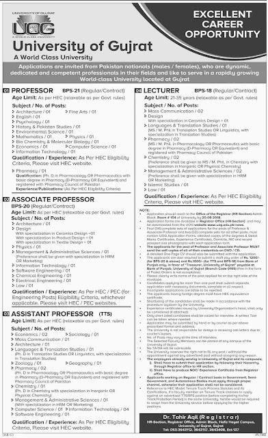 Teaching Faculty jobs in University of Gujrat