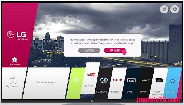 cara update aplikasi di smart tv lg