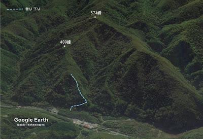 409峰への行程の略図
