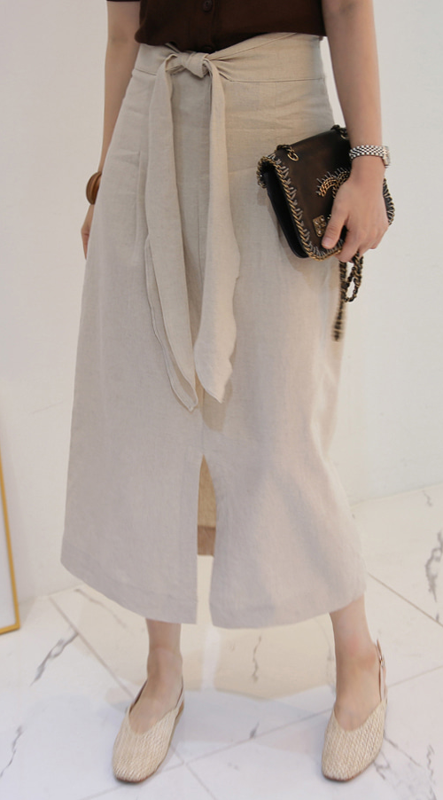 Tie-Waist Front Slit Skirt