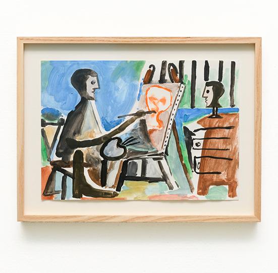 Marijn van Kreij Untitled (Picasso, The Painter, 1963), 2019 gouache and pencil on paper 29.7 x 21 cm