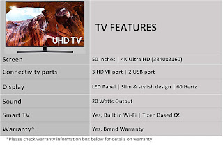 Samsung 50 Inches 4K Ultra HD Smart LED TV