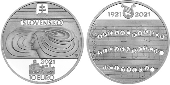 Slovakia 10 euro 2021 - Slovak Teachers' Choir