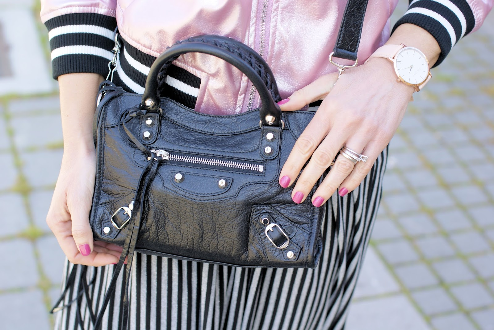 Balenciaga Mini City bag and The 5th SOHO watch on Fashion and Cookies fashion blog, fashion blogger style