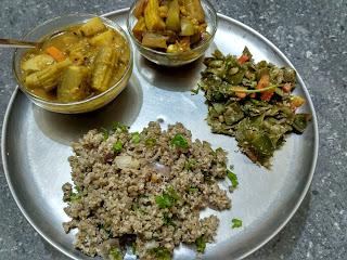 Kodo millet Coconut rice, Sambhar, Mandi, Broad beans poriyal