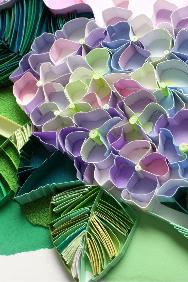 hydrangea flowers and leaves composed of on-edge paper strips