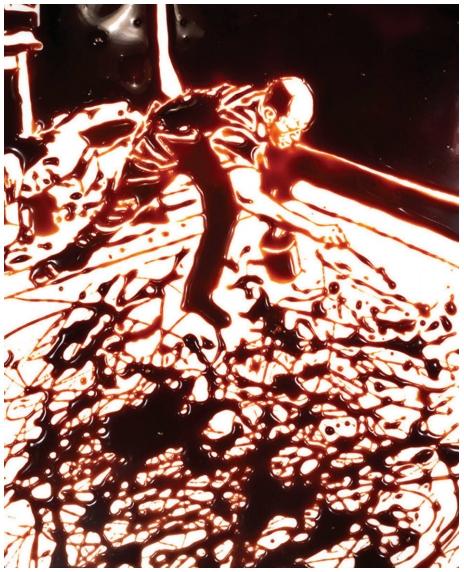 MUNIZ, V. Action Photo (segundo Hans Namuth em Pictures in Chocolate). Impressão fotográfica, 152,4 cm x 121,92 cm, The Museum of Modern Art, Nova lorque, 1977.