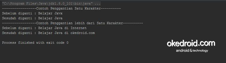 Output Hasil Fungsi Method replace() Program Java