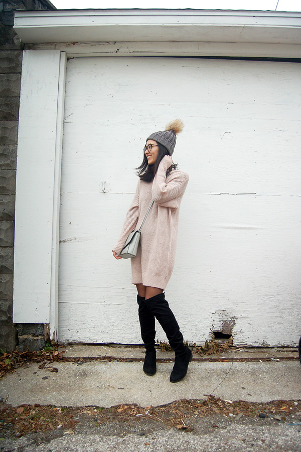 Pink Sweater Dress Black over the knee boots Outfit