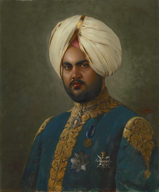 RUDOLF SWOBODA (1859-1914) The Maharajah of Kapurthala 1898 Oil on canvas   76.2 x 63.6 cm, 1898 The Royal Trust Collection (Osborne house)
