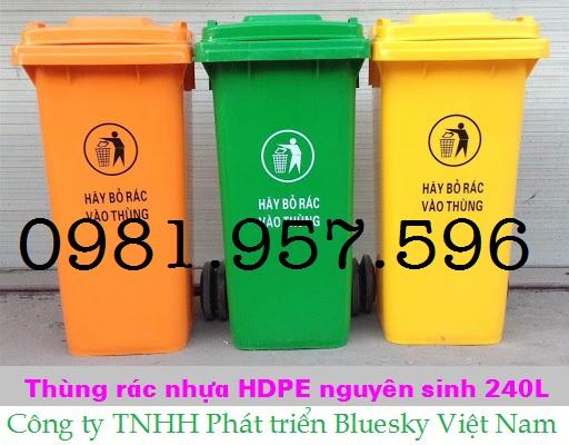 Thùng rác 240L, thùng đựng rác dân cư, thùng đựng rác thải Y tế