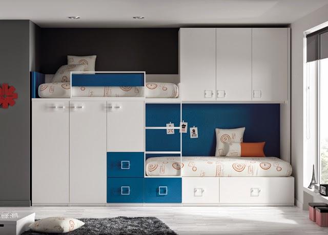 Camas triples amueblar un dormitorio para tres - Dormitorios infantiles dobles ...