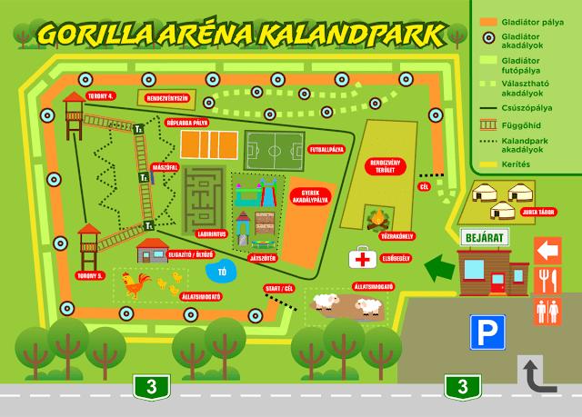 Gorilla Aréna Kalandpark térkép