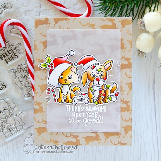 Puppy and Kitty Christmas card by Tatiana Trafimovich | Christmas Puppies Stamp Set, A Kitten Christmas Stamp Set, Reindeer Stencil and Frames & Flags Die Set by Newton's Nook Designs #newtonsnook #handmade