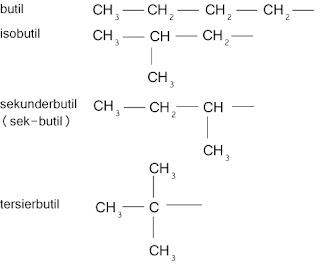 4 jenis gugus butil