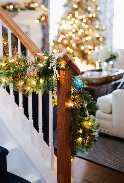 Coastal Staircase Garland with Glass Float Ornaments