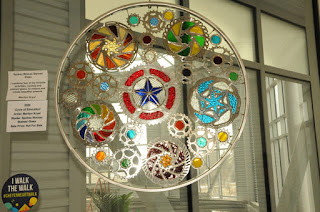 glass art bicycle wheel