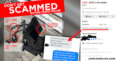 Facebook Marketplace is home to used auto parts for sale. Beware not all sellers are honest.