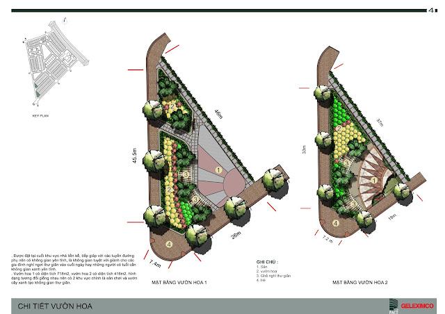 Thiết kế chi tiết vườn hoa bên trong liền kề khu D Geleximco