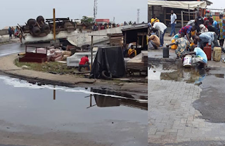 Lagos residents scoop fuel from fallen tanker at Festac
