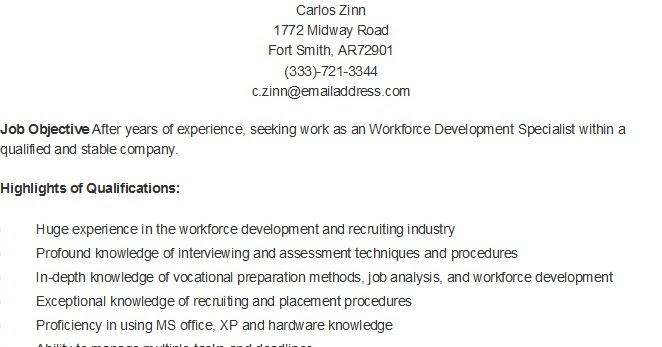 resume samples  sample workforce development specialist resume