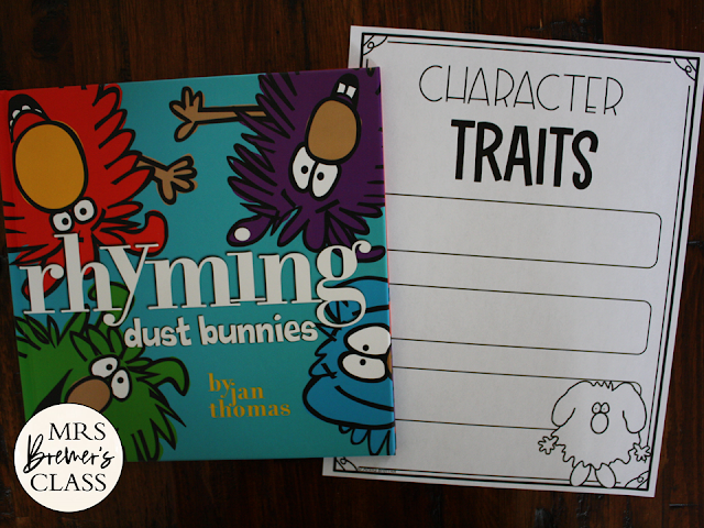 Rhyming Dust Bunnies book study activities unit with Common Core aligned literacy companion activities and a craftivity for Kindergarten & First Grade