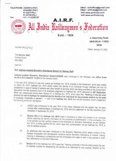 Railway Employees Aadhaar enabled Biometric Attendance System