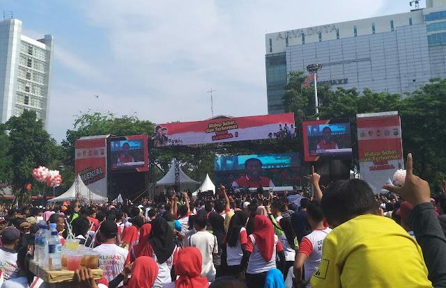 Deklarasi Antinarkoba Polda Sumut, Peserta Acungkan Dua Jari saat Video Jokowi Diputar