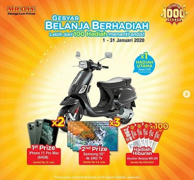 Promo Mr DIY Berhadiah Motor Vespa, Iphone 11, Samsung UHD TV dll
