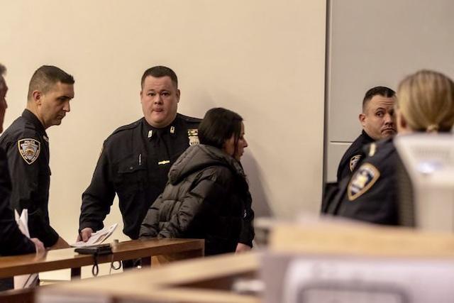 Drita D'Avanzo under arrest.