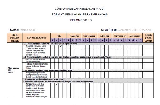 Contoh Format Penilaian Bulanan Anak Kurikulum 2013 PAUD