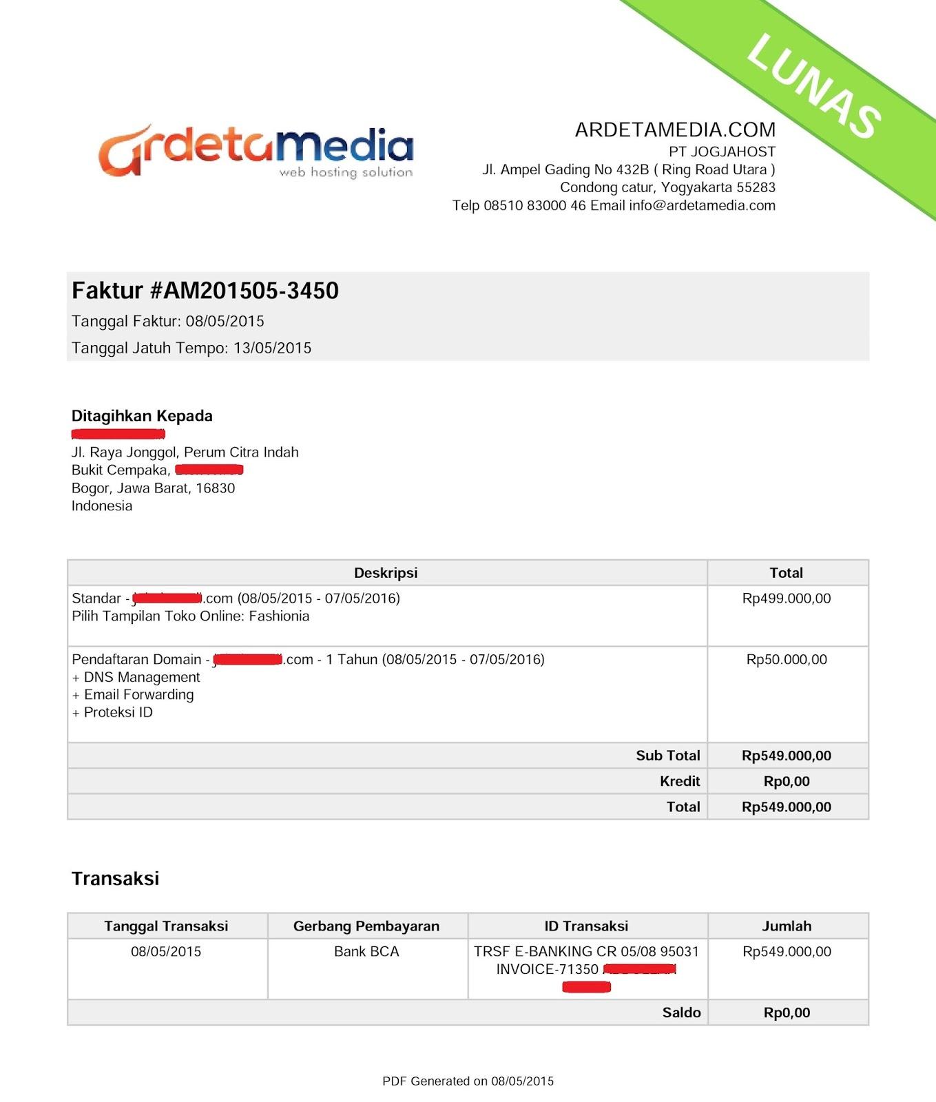 Contoh Invoice Dari Ardeta Media Pemesanan Domain Dan Toko Online