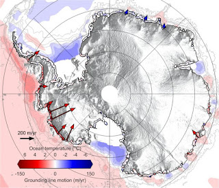 "Map of Antarctica today showing rates of retreat (2010-2016) of the ""grounding line"" where glaciers lose contact with bedrock underwater, along with ocean temperatures. The lone red arrow in East Antarctica is the Totten Glacier, which alone holds ice equivalent to ~3m (10ft) of sea level rise. (Image Credit: UMass Amherst / Edward Gasson) Click to Enlarge."