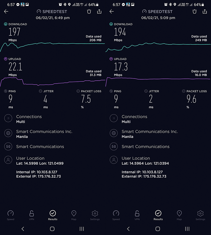 5G Speedtest using Smart Communication's network
