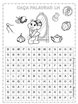 atividades de Ortografia, caça palavras, Dificuldades ortográficas, leitura, língua portuguesa, Letra CH, Sílaba NH, Sílaba LH,