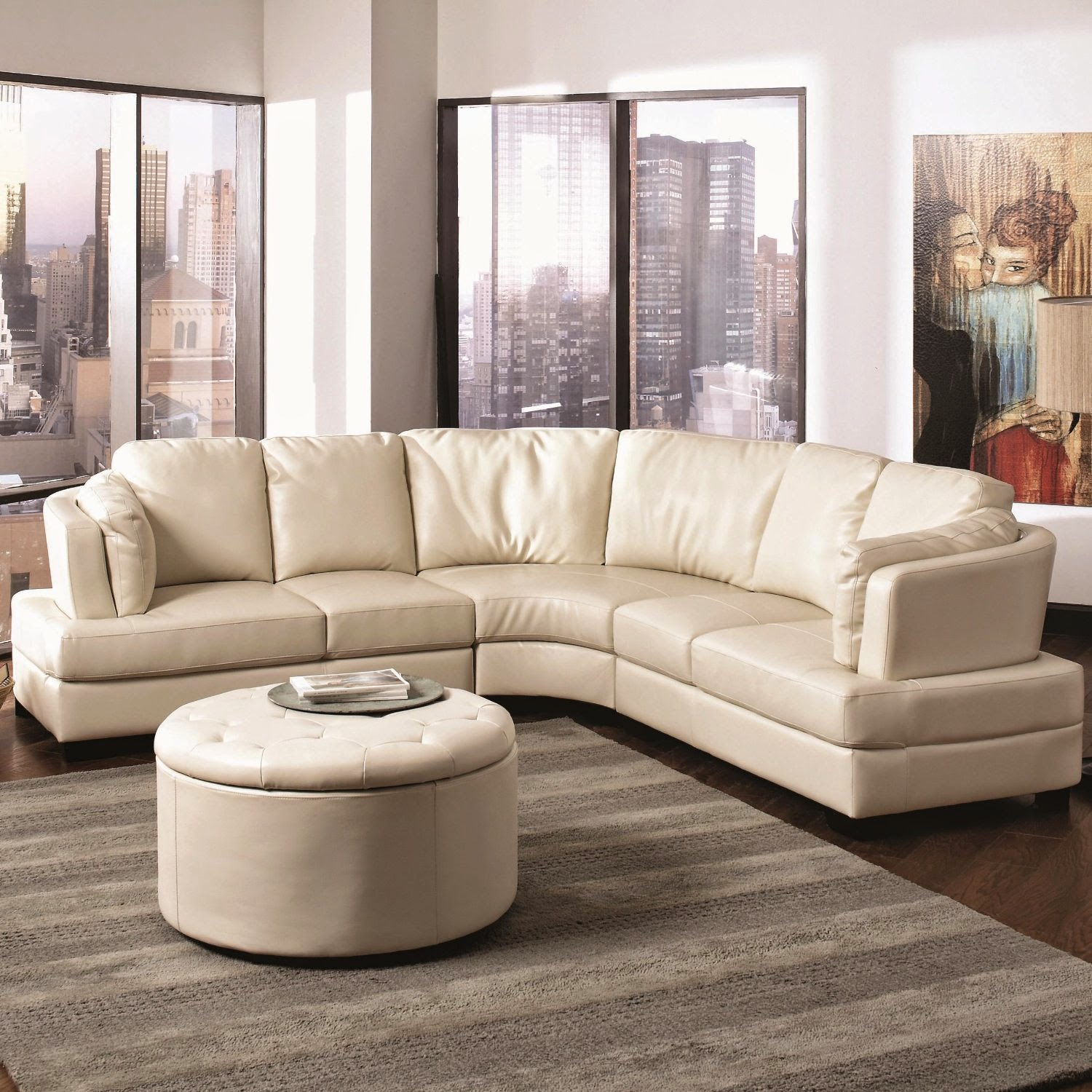 Landen Cream Curved Sectional Sofa For Sale