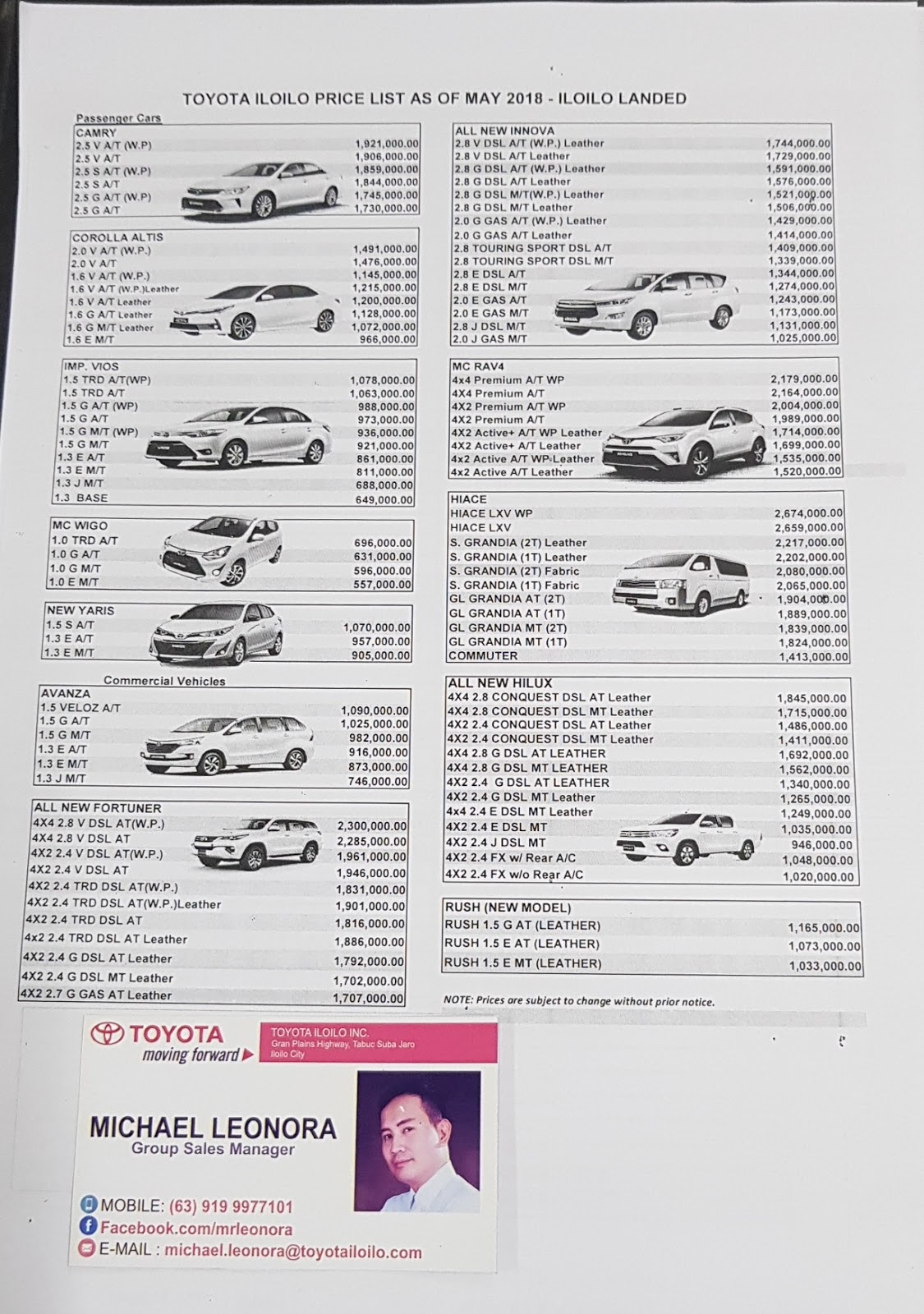 May 2018 Toyota Pricelist With Toyota Rush Toyota Iloilo Online By
