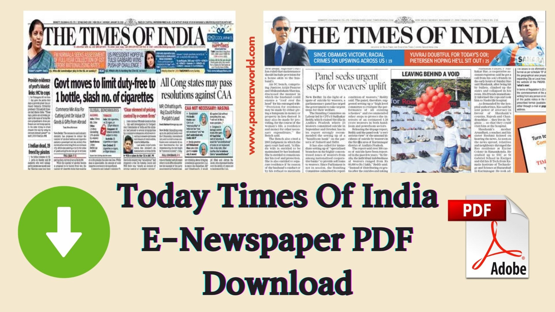 Today Times Of India E-Newspaper PDF Download ( PDF )